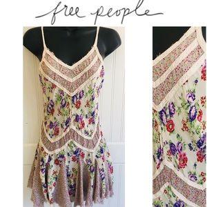 FREE PEOPLE Bohemian Floral Slip Mini Dress XS S
